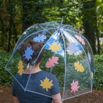 Learn how to decorate a clear umbrella with leaves printed on fabric. This is so festive for fall - and so easy to make! You can do this with any graphics.