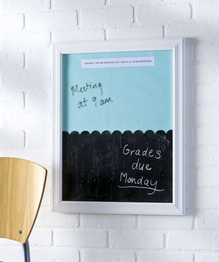This dual DIY dry erase board and chalkboard makes a lovely teacher's gift, but is also perfect for anyone that wants to get organized!