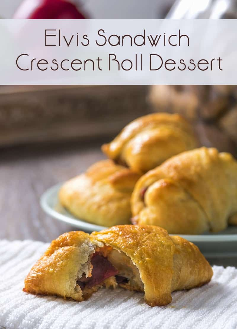 This Elvis sandwich themed crescent roll dessert is delicious! The sweet, salty, and creamy just work together. It's easy to make and budget friendly!