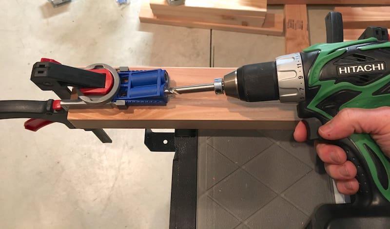 Drilling into a Kreg Jig