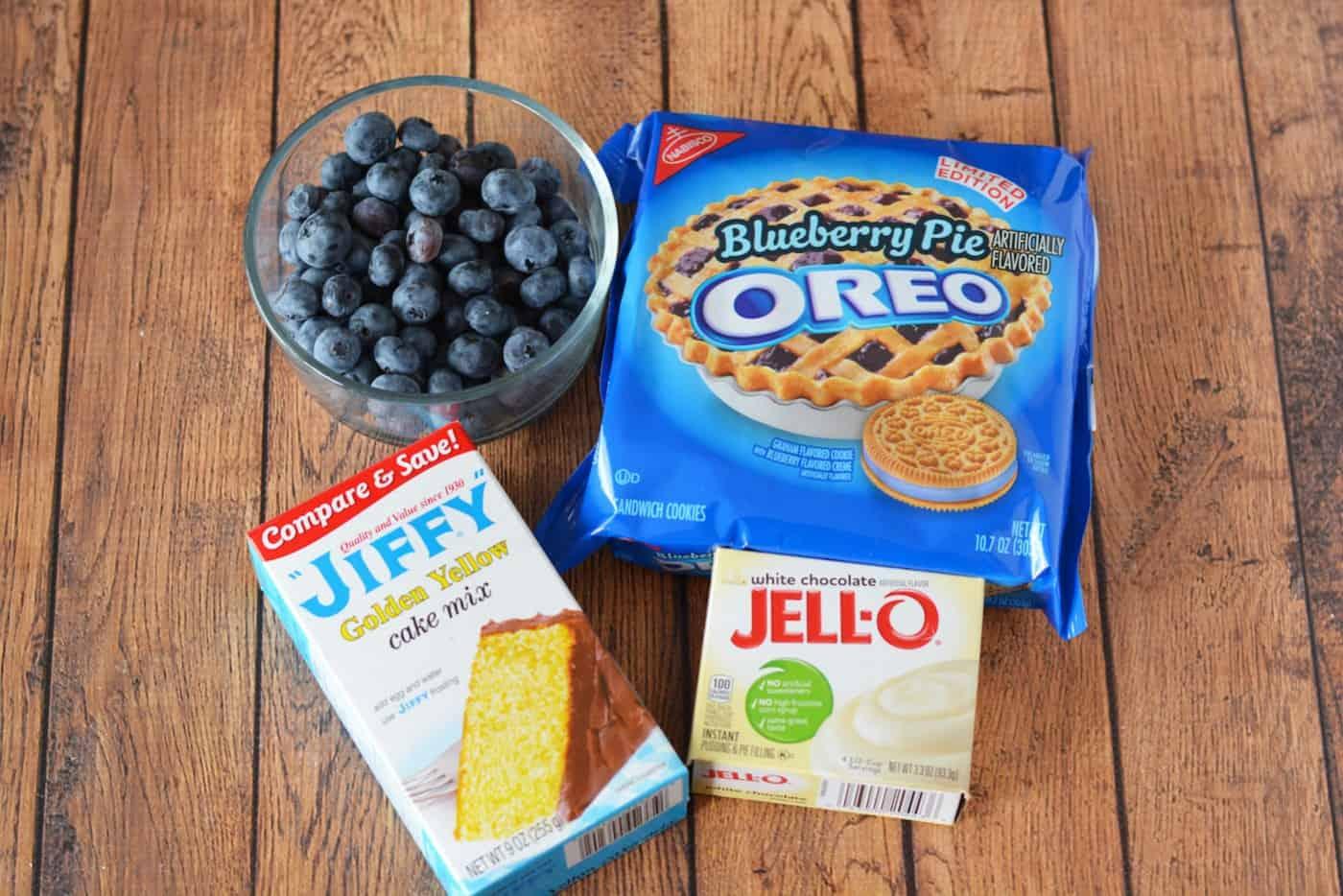 Blueberry Pie Oreo Poke Cake Ingredients