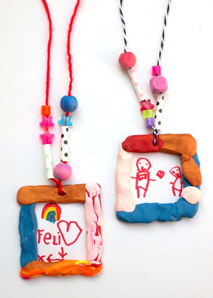 These portrait necklaces are one of those crafts for kids that the whole family will love making! Pick your favorite colors of clay, beads, and yarn