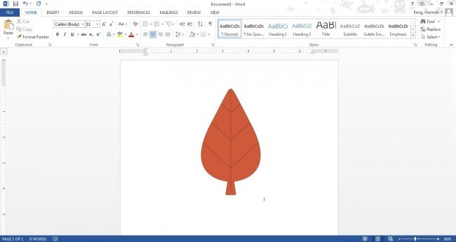Leaf image in Microsoft Word