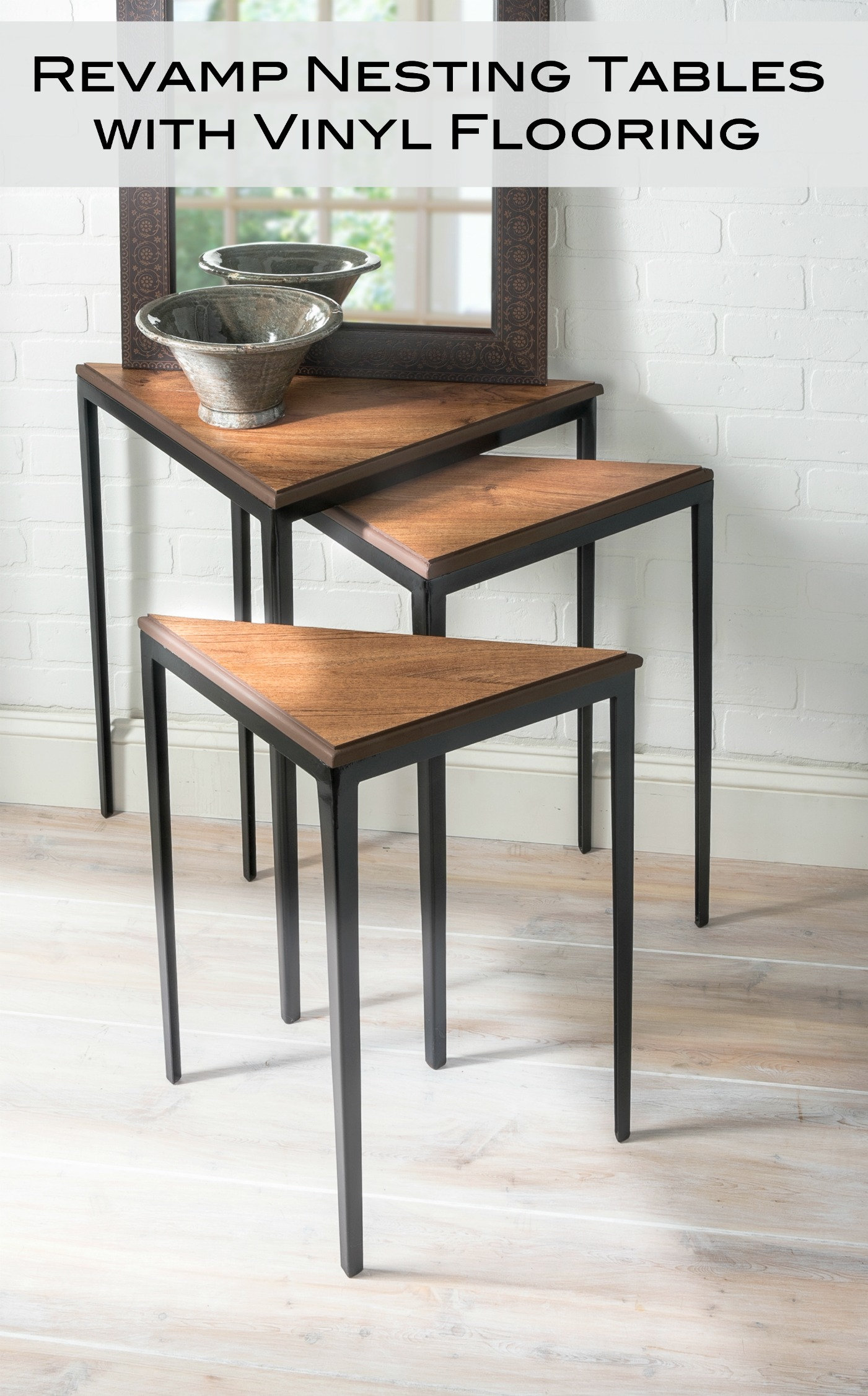 Learn how to revamp nesting tables using vinyl flooring! Leftover flooring makes a perfectly resilient and cost effective tabletop. We love the results!