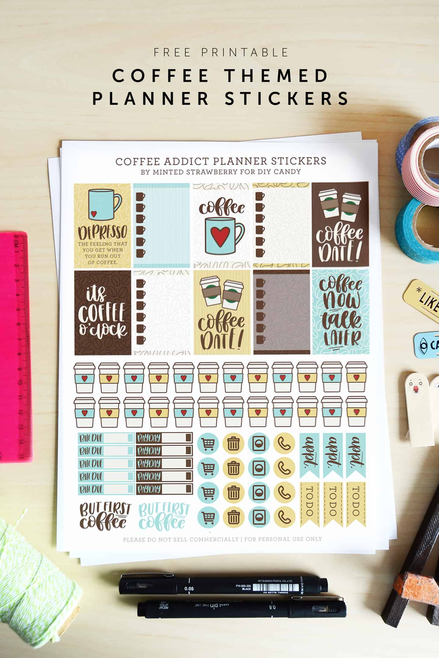 graphic relating to Free Printable Stickers known as No cost Printable Espresso Stickers for Your Planner - Do it yourself Sweet