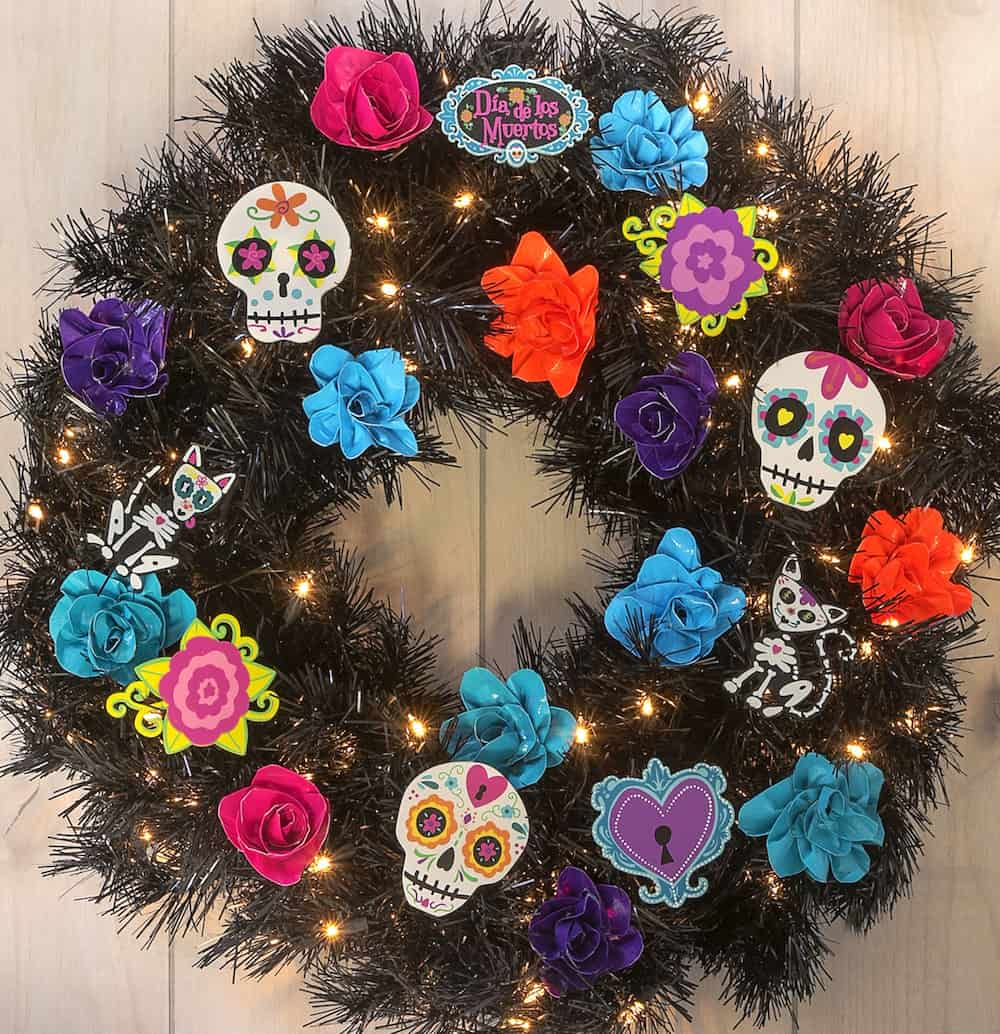 Dia De Los Muertos Wreath With Faux Roses Diy Candy