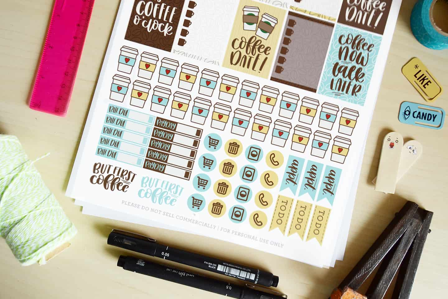 Coffee Themed Printable Planner Stickers - DIY Candy