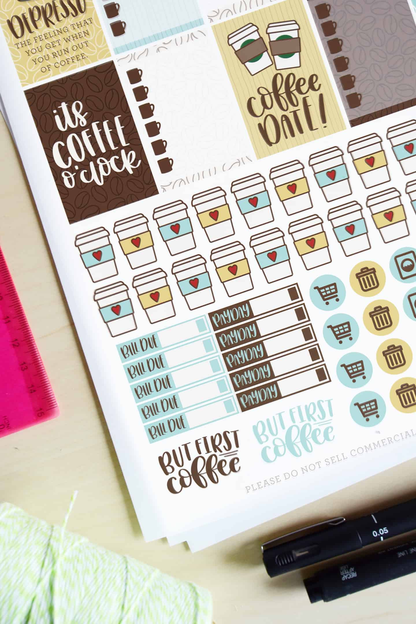 coffee themed printable planner stickers