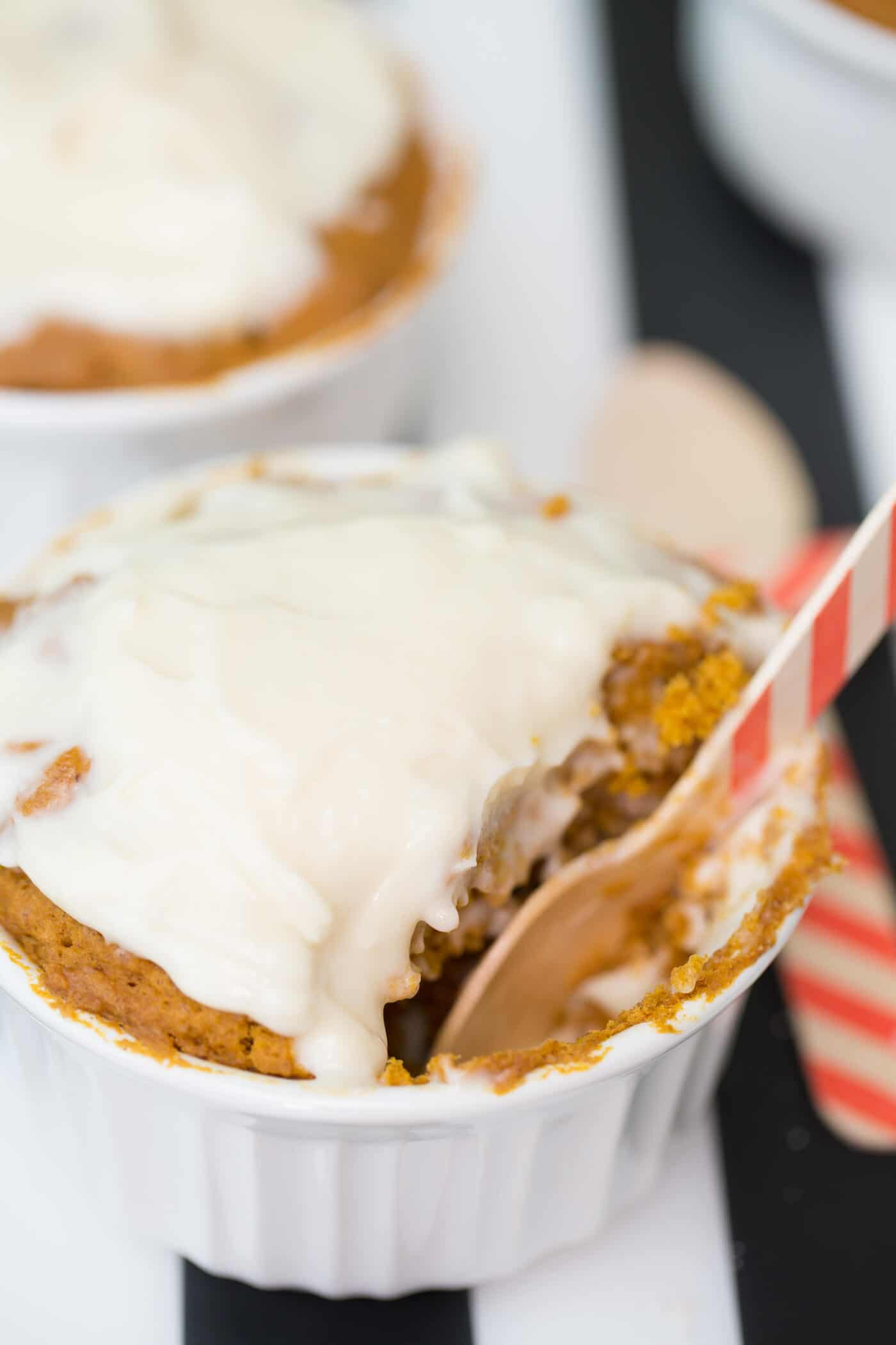 You'll love this pumpkin spice mug cake recipe! Transform a few ingredients into a tasty treat that can be baked right in your microwave in a minute.