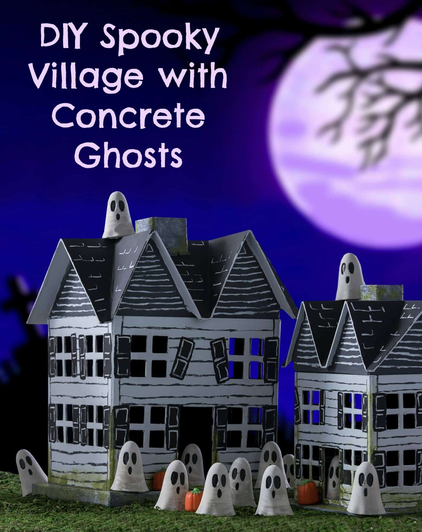 Use Quikcrete, paper mache houses, acrylic paint, and a few other supplies to create a spooky village for Halloween! Kids will love to participate too.