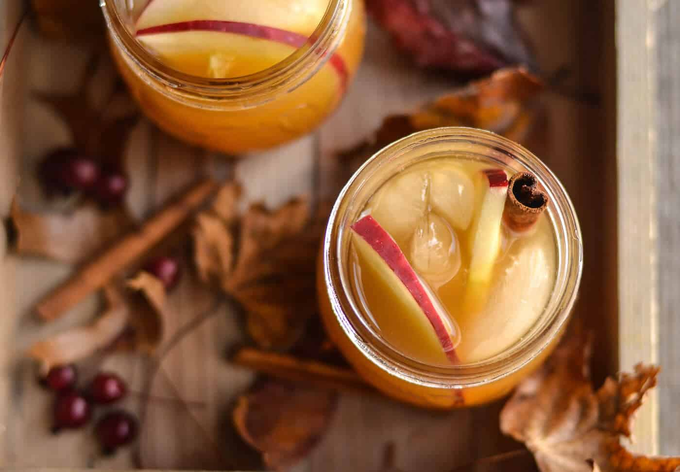 Enjoy the crisp flavors of fall with this tasty apple cider ginger beer cocktail! Spike with vodka and top with cinnamon sticks. So delicious!