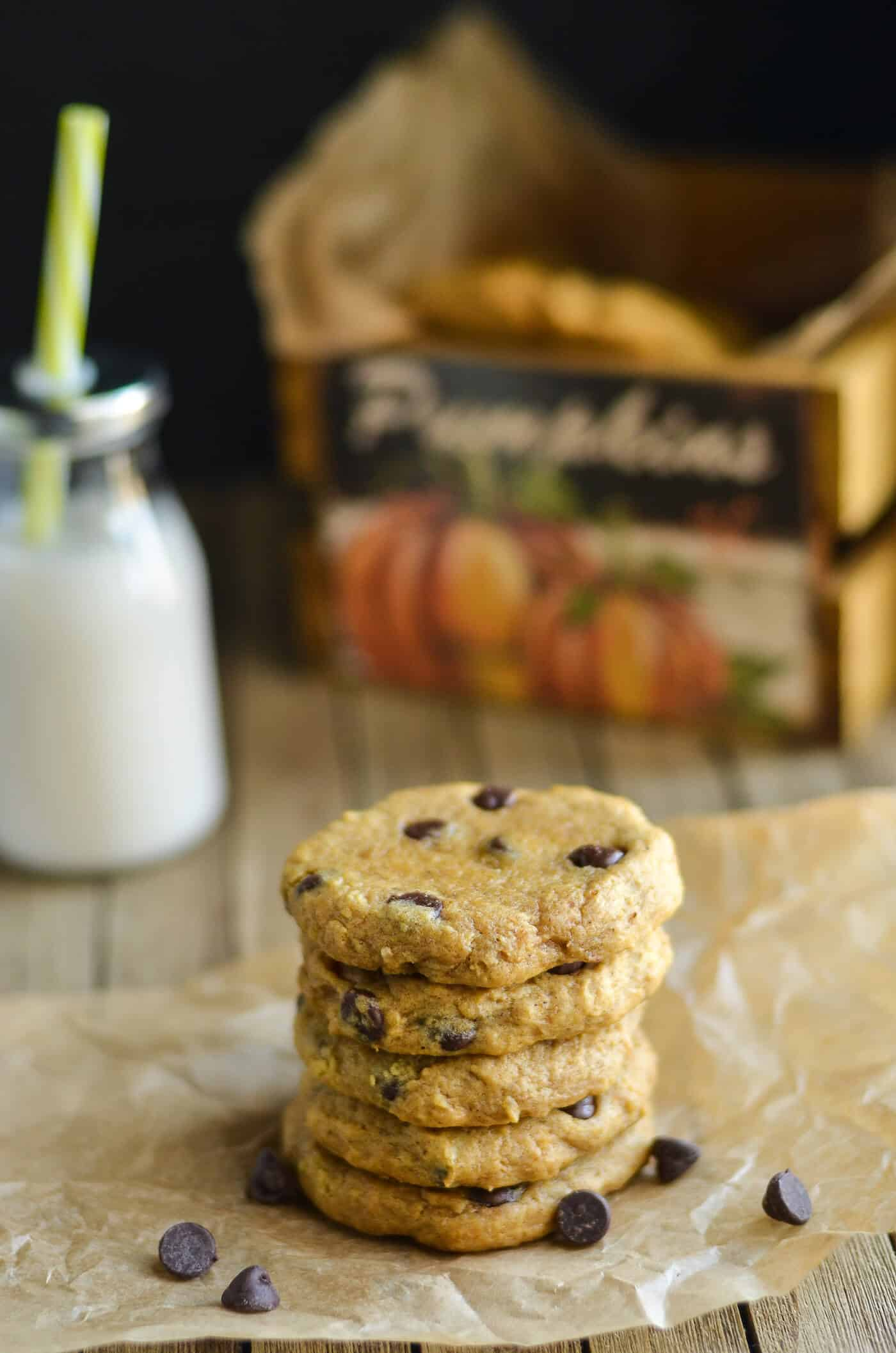 Indulge in your favorite fall flavor with this pumpkin chocolate chip cookie recipe! Soft, chewy, and delicious. These are the perfect consistency!