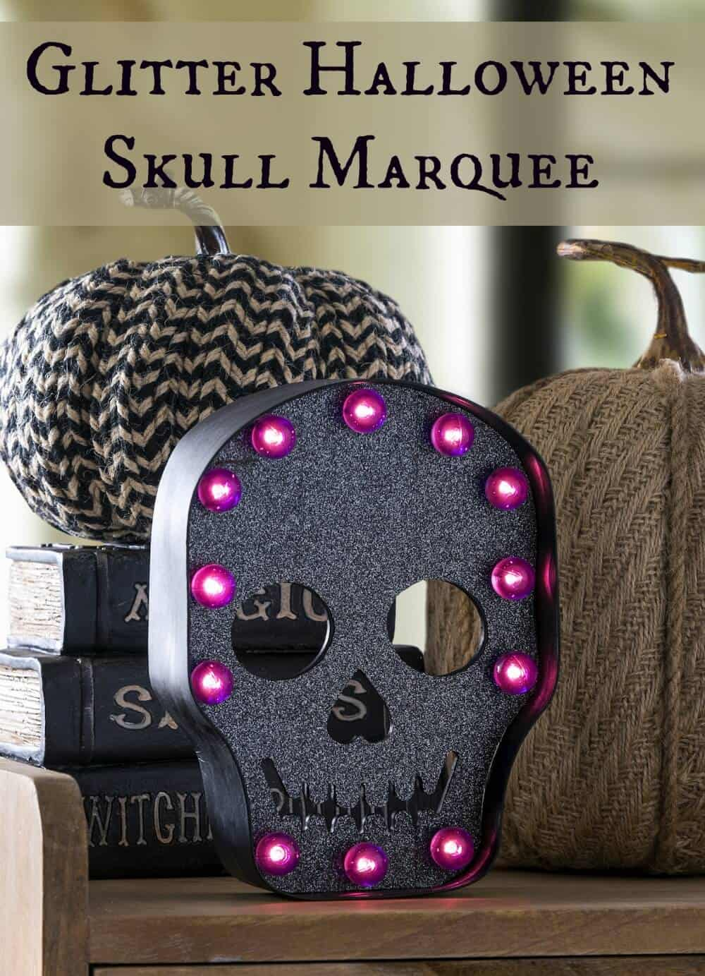 Use black Glitter Duck Tape to decorate this fun skull marquee for Halloween! Perfect for mantel decor or a Halloween party decoration. So easy to make!