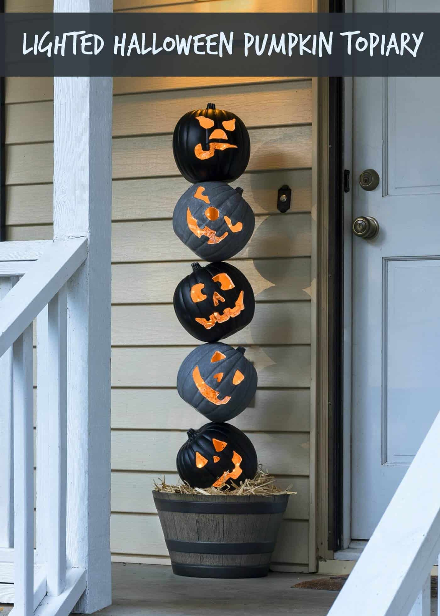 Lighted outdoor halloween pumpkin topiary diy candy grab some faux pumpkins from the craft store and create this unique halloween pumpkin topiary workwithnaturefo