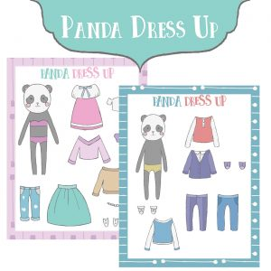 Panda Themed Free Printable Paper Dolls
