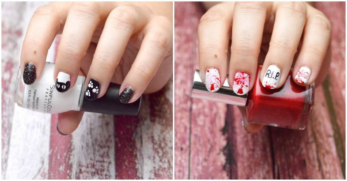 Unique Halloween Nail Designs Two Ways
