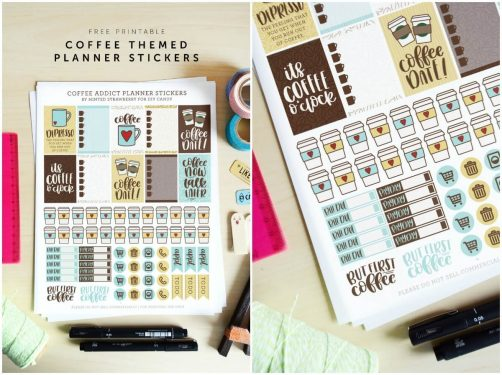 Grab some free printable planner stickers with a coffee theme! Perfect for Happy Planner, Day Designer, bullet journal, and more.