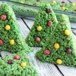 This rice krispy treat recipe makes the cutest Christmas trees ever! Perfect for the holidays, tasty, and the whole family can join in to make them.