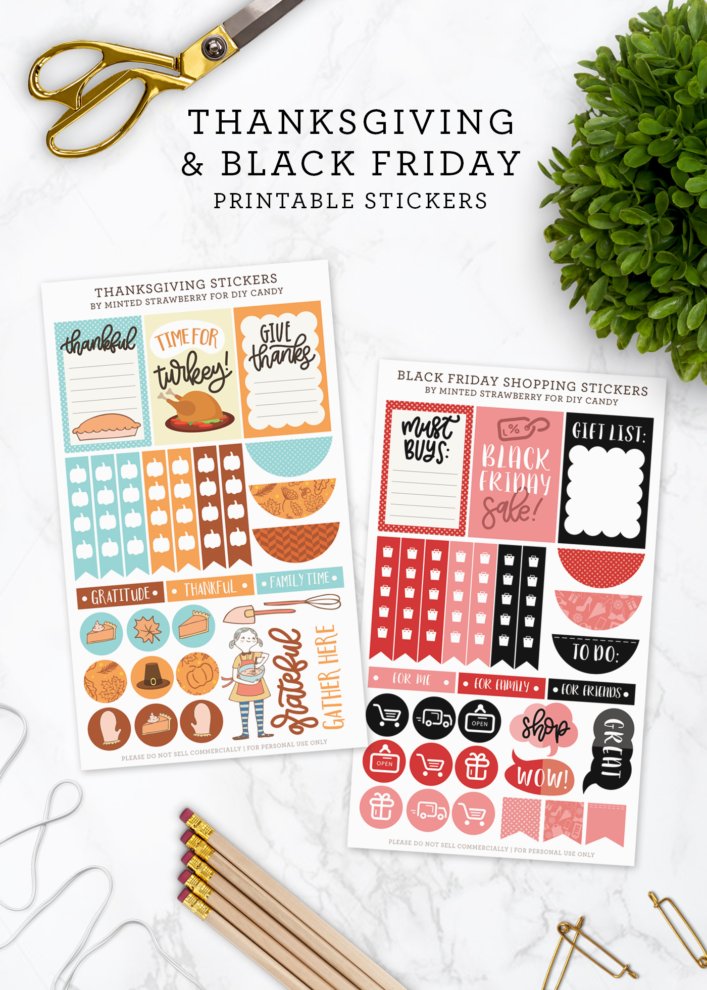 Thanksgiving and Black Friday Printable Planner Stickers - DIY Candy