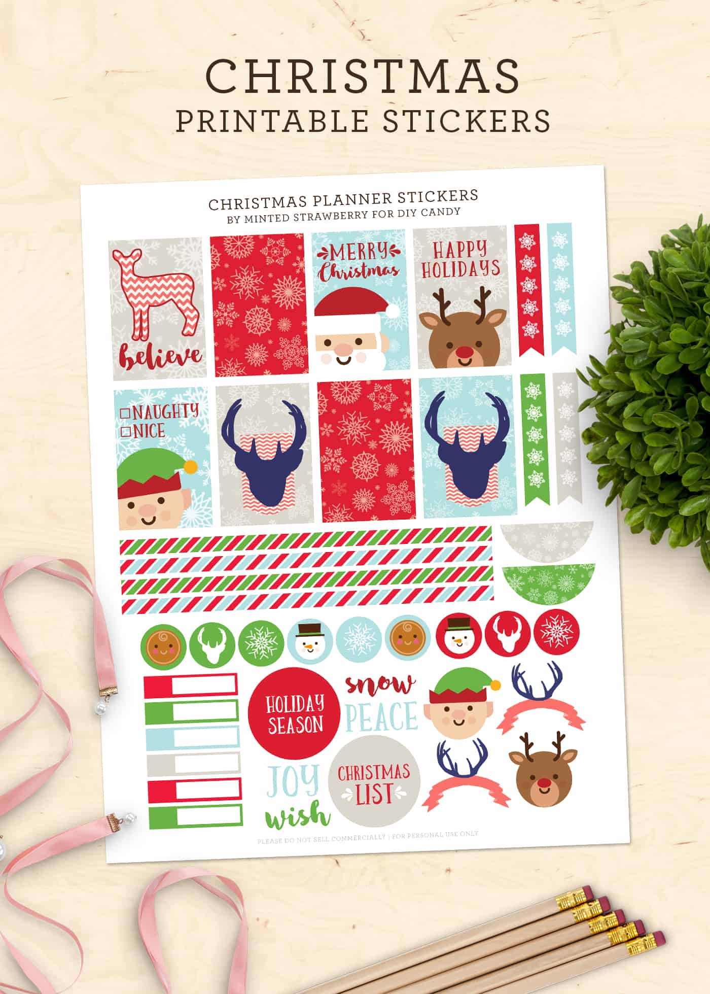 photograph regarding Printable Christmas Stickers titled Free of charge Xmas Stickers for Your Planner (Printable!) - Do-it-yourself