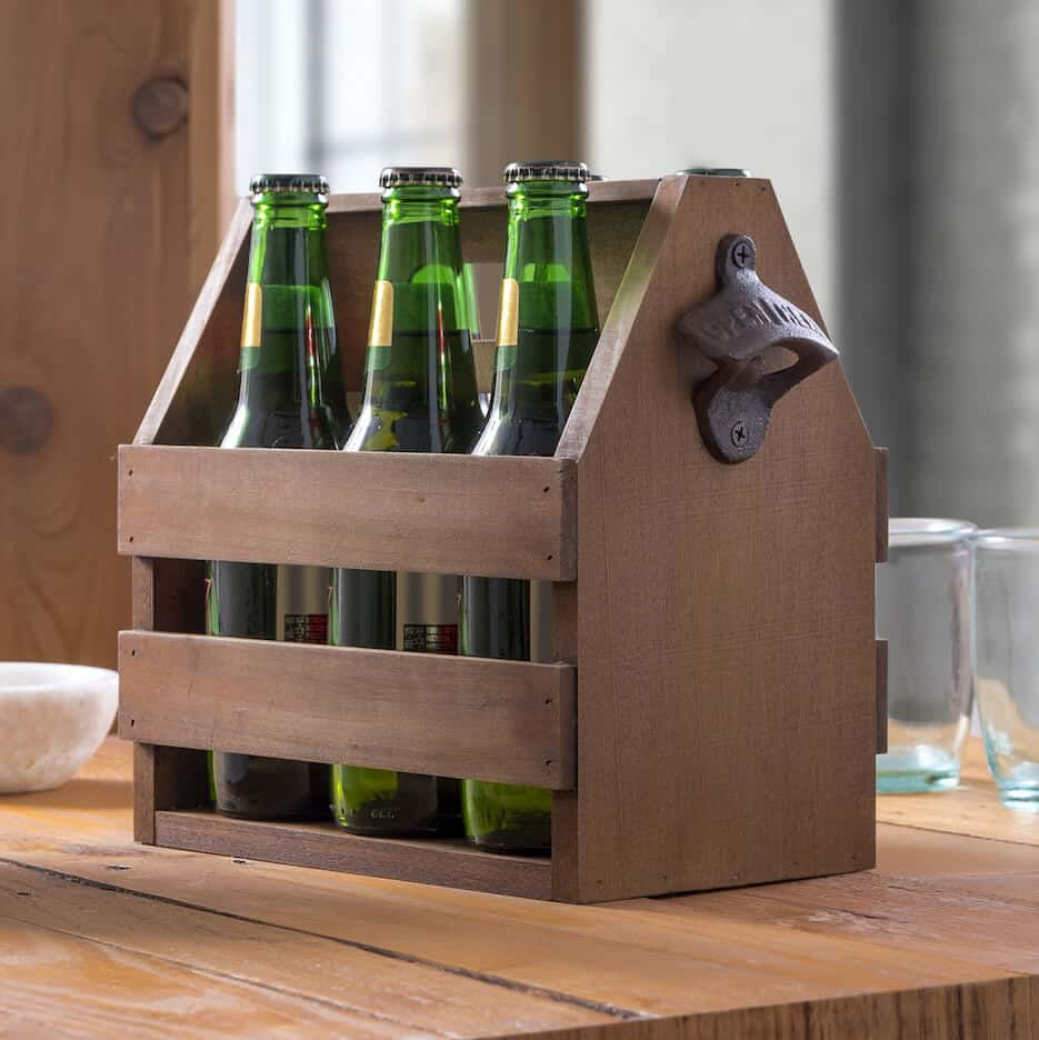 Learn how to make a DIY beer caddy using these plans. It even has a bottle opener on the side . . . and makes the perfect gift!