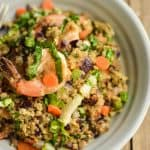 You'll love this delicious shrimp quinoa 'fried rice' recipe! Full of crisp veggies, tasty shrimp, and with a subtle flavor of garlic and ginger. So yummy!