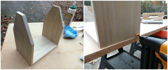 Nail the wooden pieces together using a brad nailer
