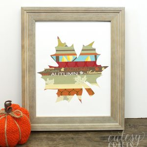 If you love easy fall crafts that make a huge impact - try this scrapbook paper leaf in a frame! Free printable or cut file available for you as well.