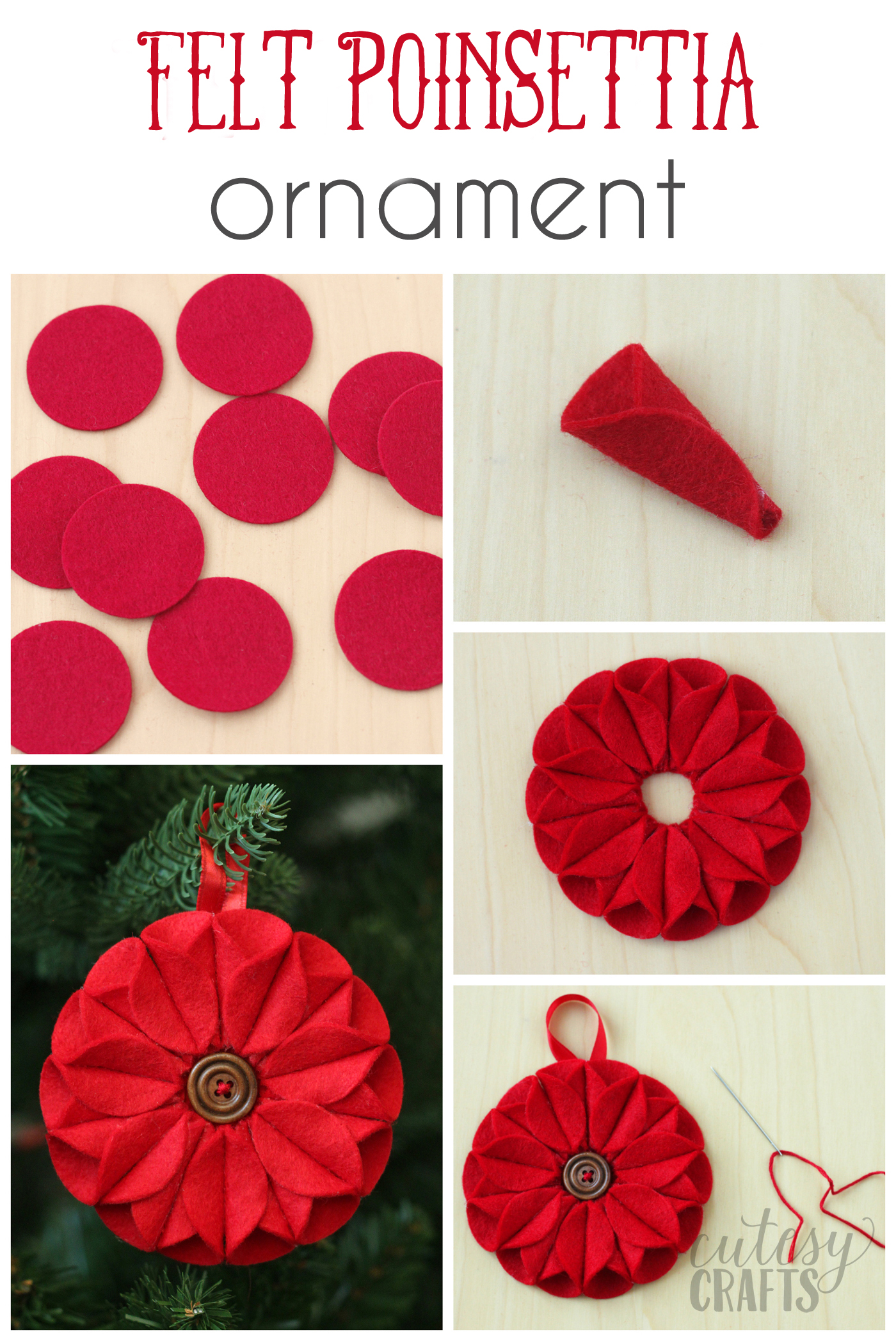 Poinsettia Felt Christmas Ornament - diycandy.com