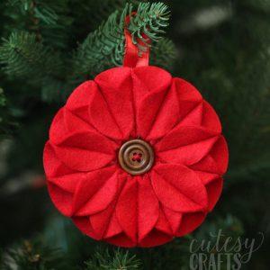 Poinsettia Felt Christmas Ornament