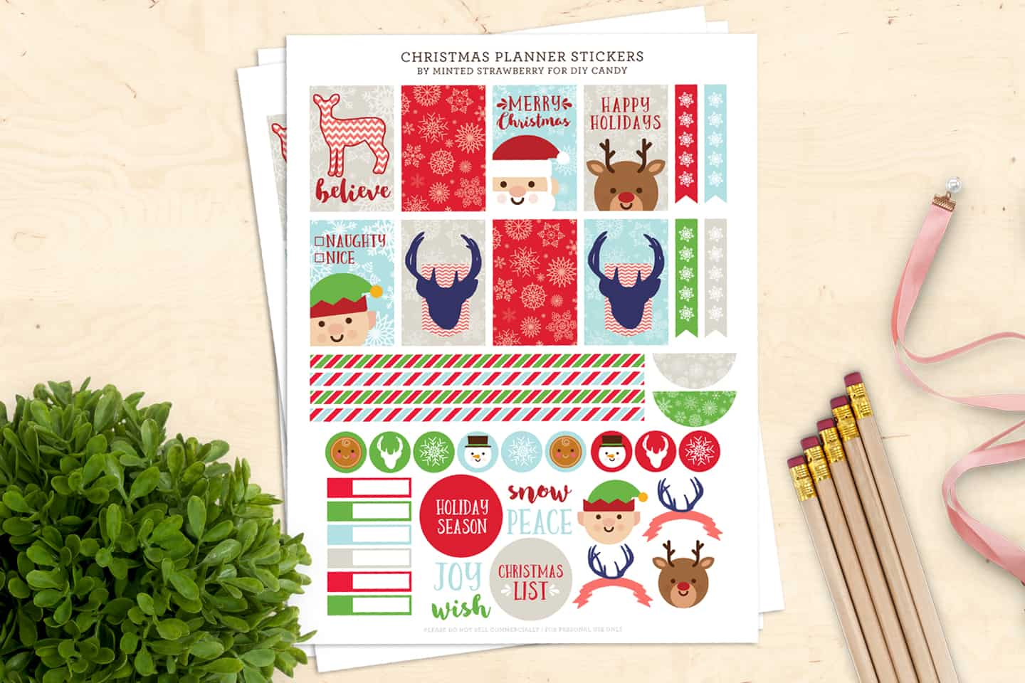 picture regarding Printable Christmas Stickers named Absolutely free Xmas Stickers for Your Planner (Printable!) - Do it yourself