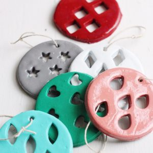 Stamped Geometric Clay Christmas Ornaments