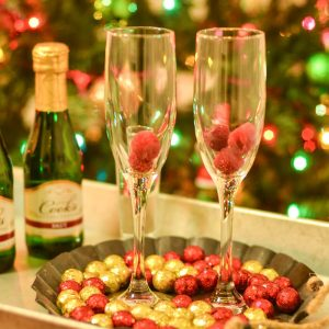 Raspberry Sparkling Wine or Champagne Drink