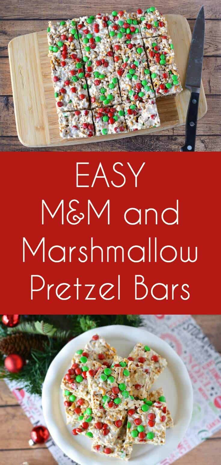 Looking for a delicious holiday treat you can make in just a few minutes? Try these M&M marshmallow pretzel bars! No baking required.