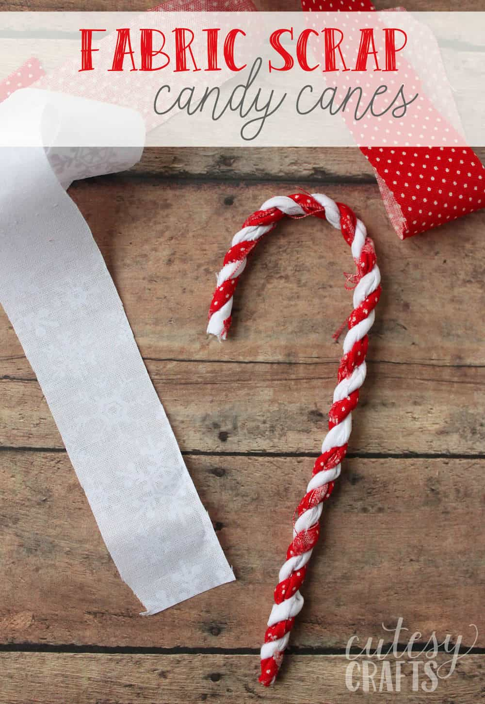 Make these candy cane ornaments out of fabric scraps! You can reuse these year after year. So perfect for hanging on the tree or decorating gifts.