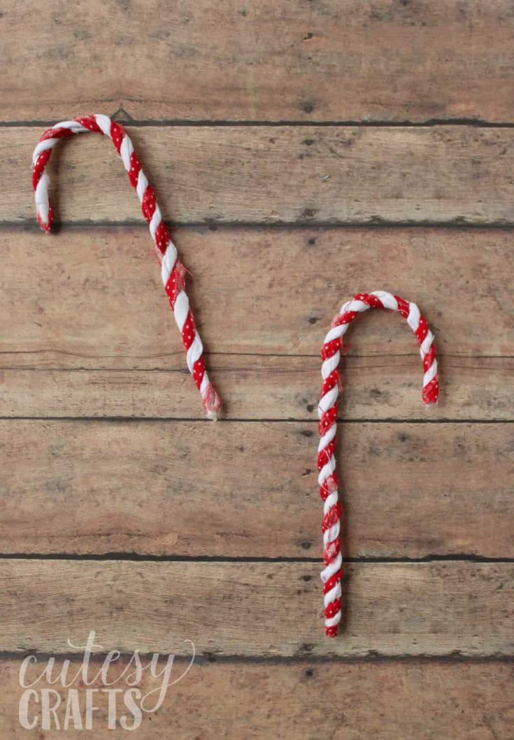 diy candy cane decorations out of fabric scraps