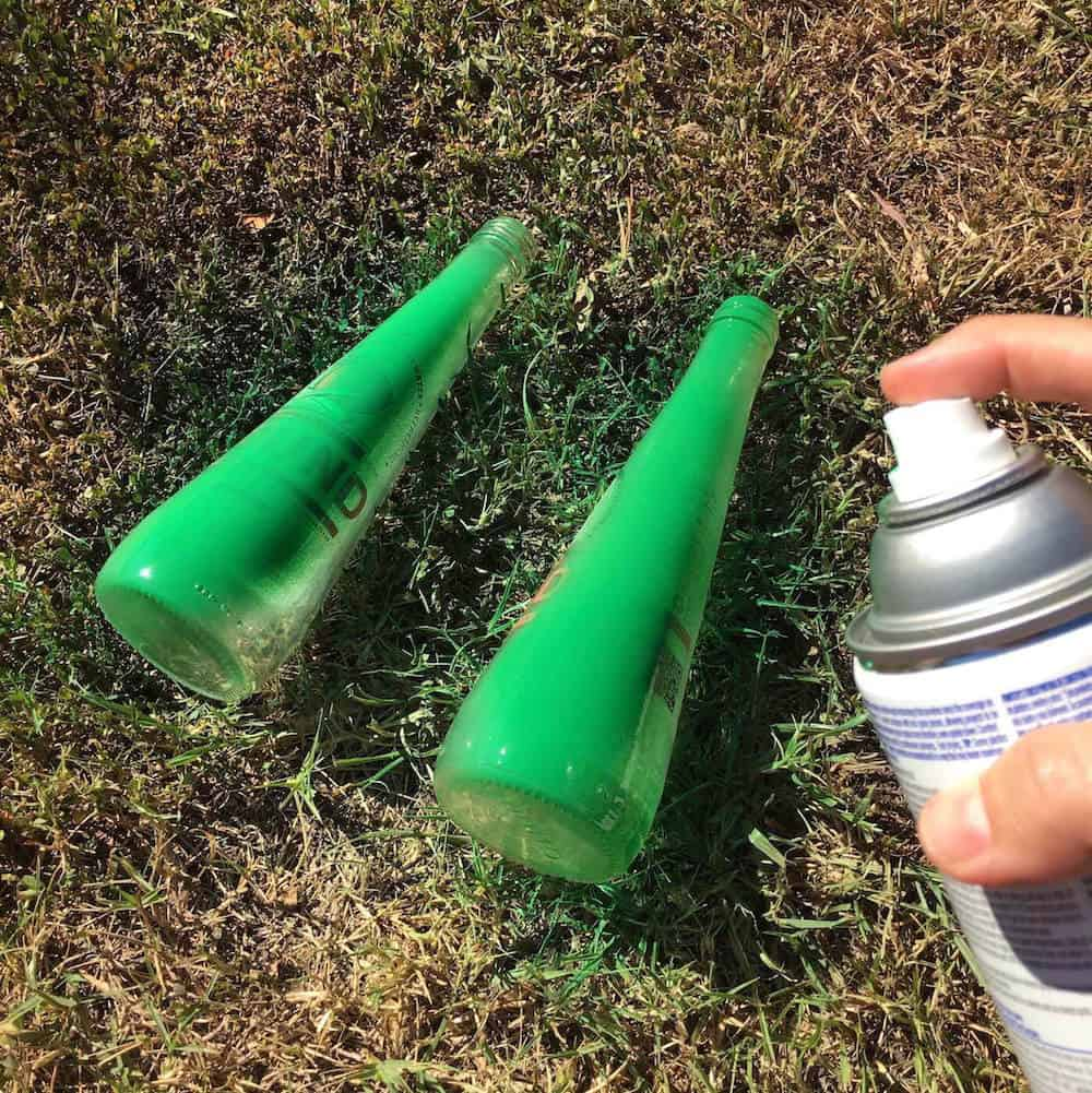 Spray paint the two bottles with green spray paint