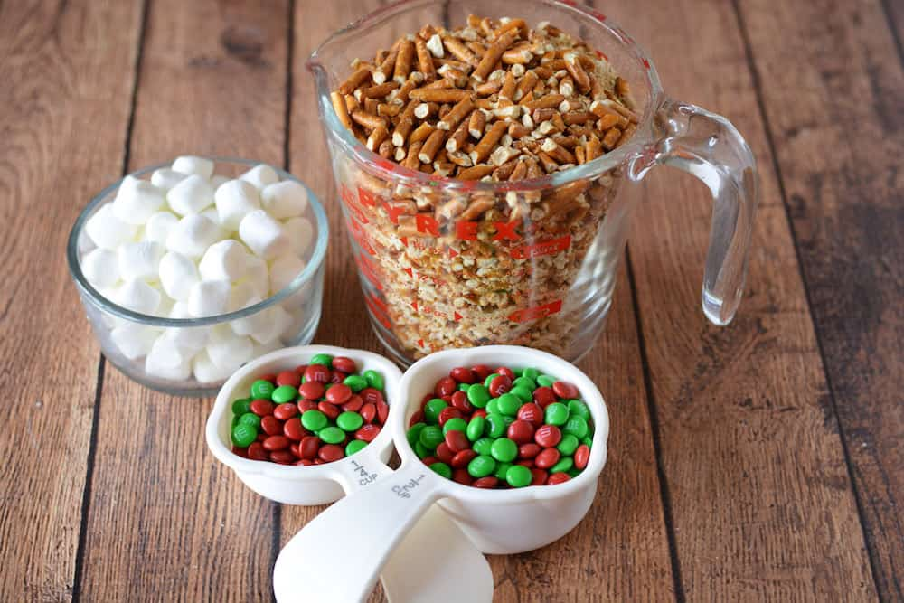 Marshmallows, crushed pretzels, and M&Ms