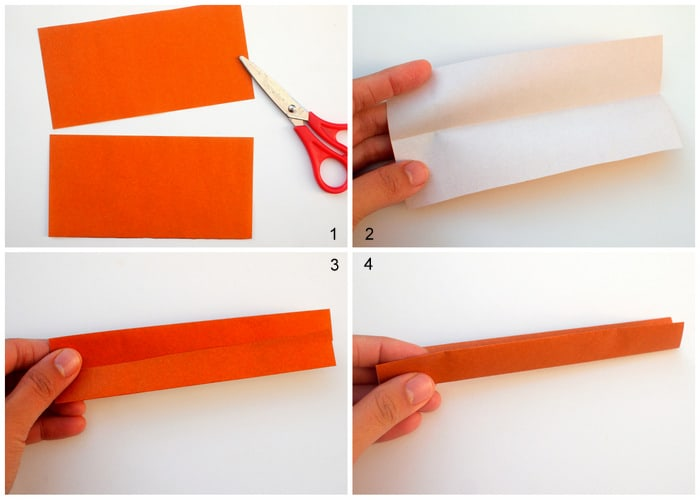 Fold a sheet of origami paper in half