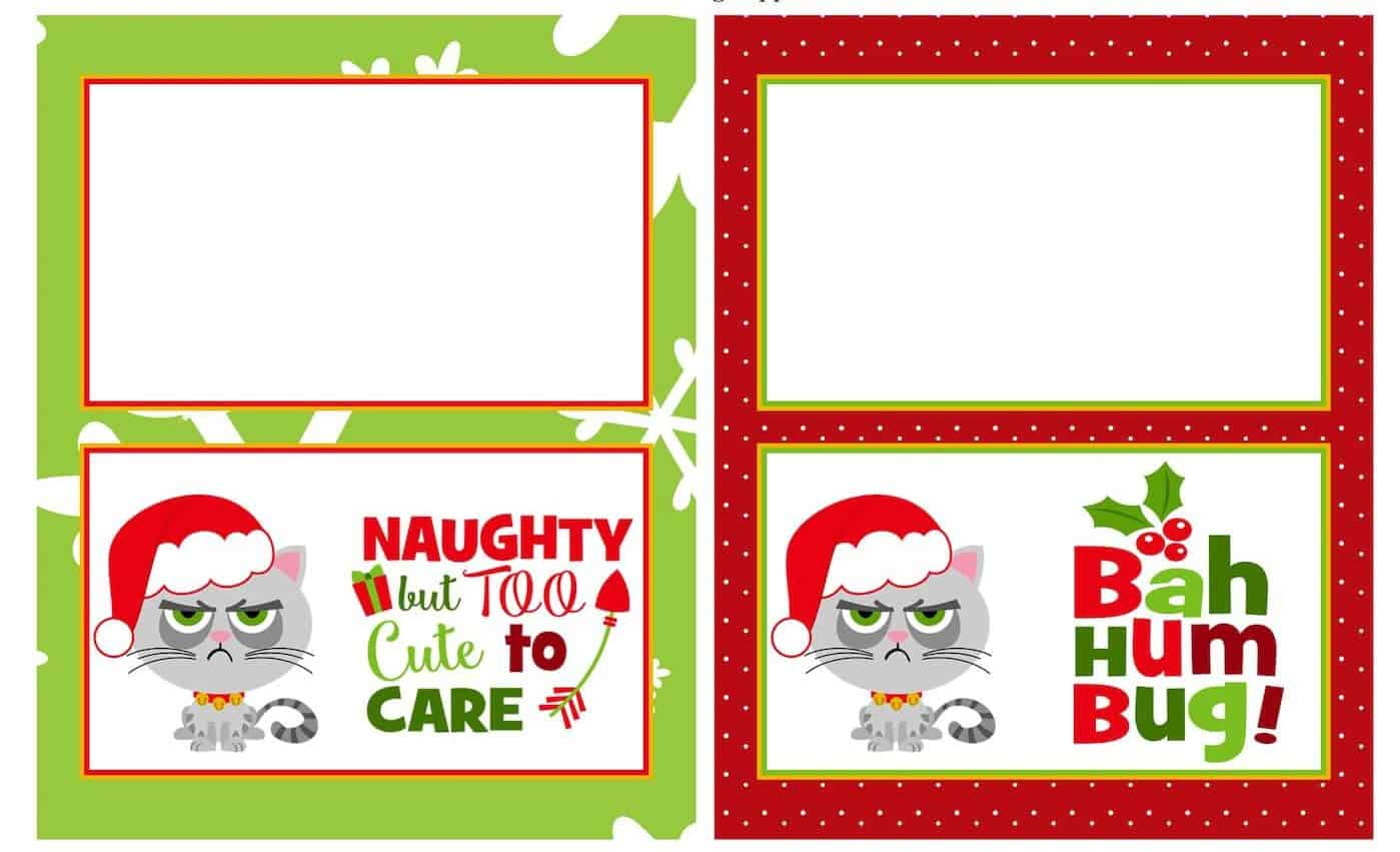 picture regarding Christmas Bag Toppers Free Printable known as No cost Grumpy Cat Xmas Printables - Do-it-yourself Sweet