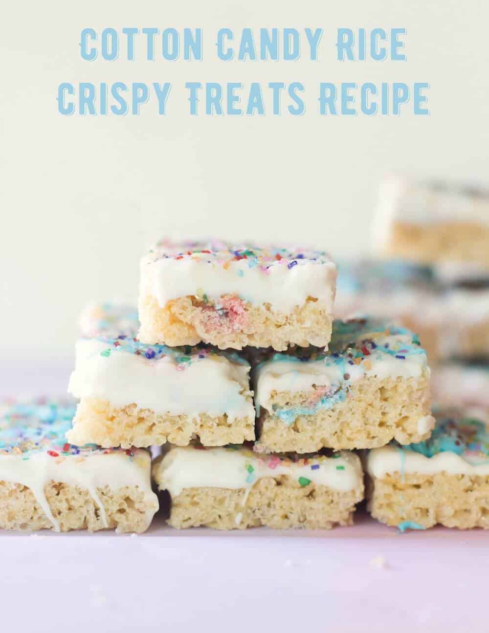 This treat takes your standard rice crispy treats recipe up a notch! Add cotton candy and a few other ingredients for the ultimate dessert bar.