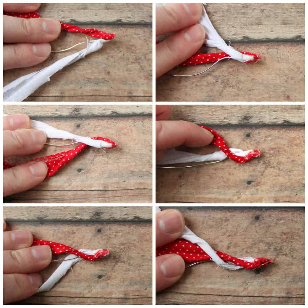 red and white fabric wrapped around a wire