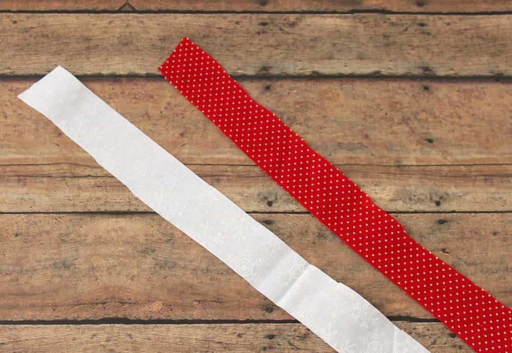 red and white strips of fabric