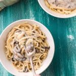 This lightened up mushroom pasta might have less fat and calories, but it still has all the creaminess and taste of the standard version!