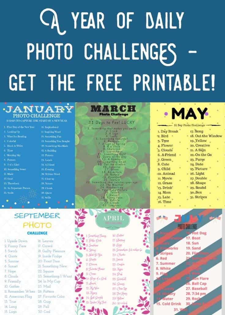 Grab your FREE printable for a daily photo challenge! This includes twelve months, 365 days. Take a new picture according to the theme and have fun!