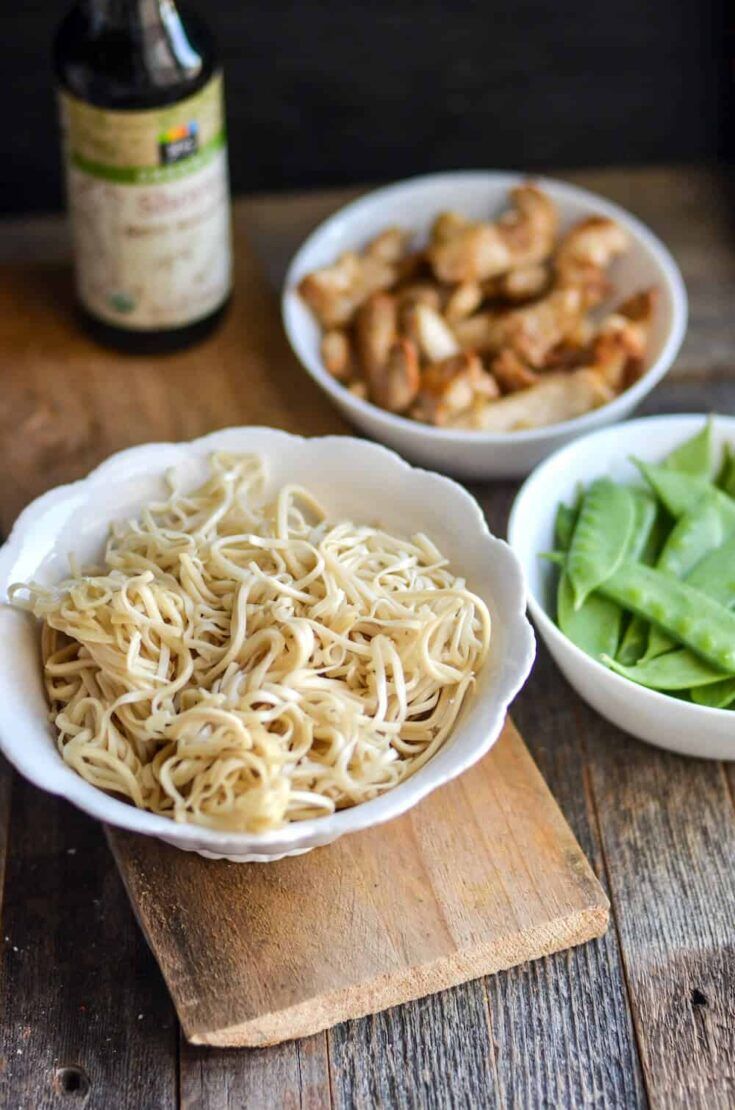Chicken Lo Mein and Snow Peas