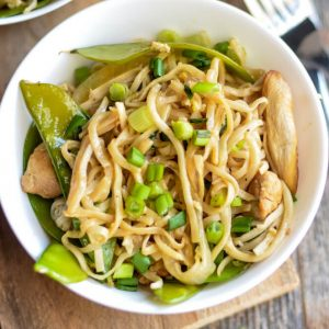 Chicken Lo Mein Recipe with Snow Peas