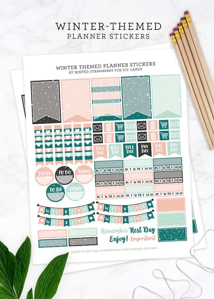 graphic regarding Bullet Journal Stickers Printable known as No cost Printable Wintertime Themed Planner Stickers - Do-it-yourself Sweet