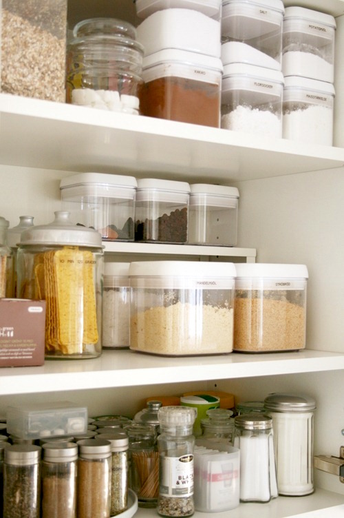 cheap pantry organization with clear containers