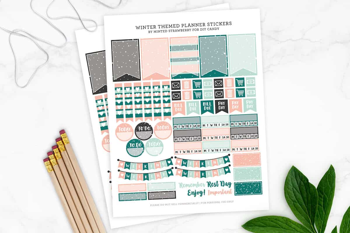 Grab some free printable planner stickers with a winter theme! Perfect for Happy Planner, Day Designer, bullet journal, and more.